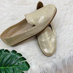 AEROSOLES Shoes - Aerosoles Gold Sequin Shimmer Flashy Flat Slip-Ons